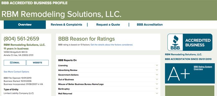 RBM Remodeling Solutions has an A+ Rating on the BBB website