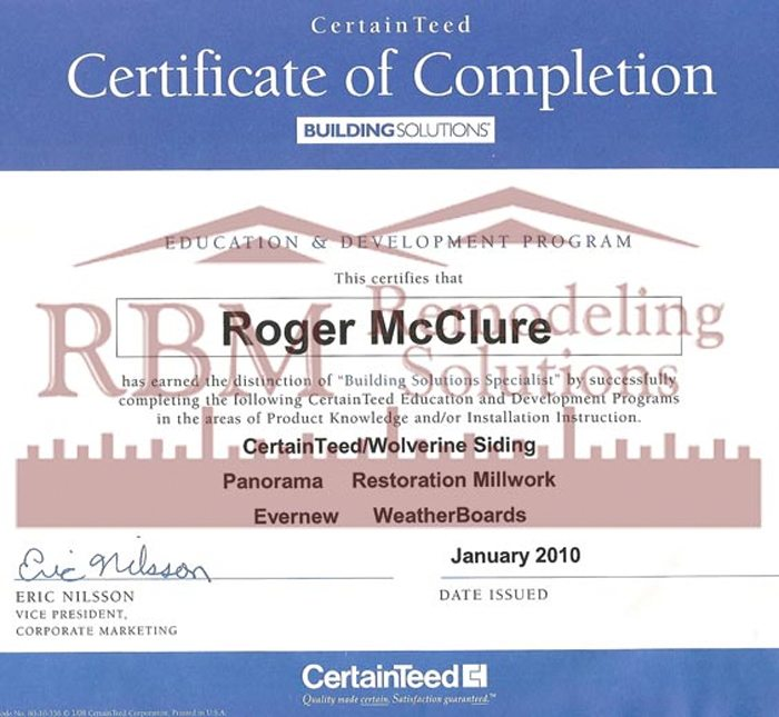 CertainTeed Certification for RBM Remodeling Solutions