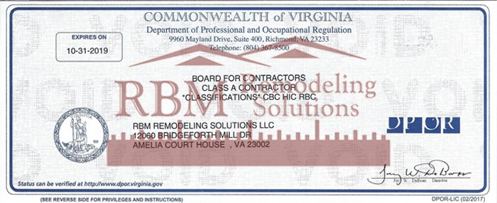 RBM Remodeling Solutions is a full service Virginia Class A contractor.