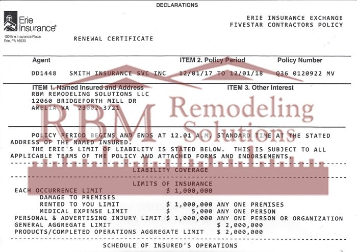RBM Remodeling Solutions has Employers Liability Insurance