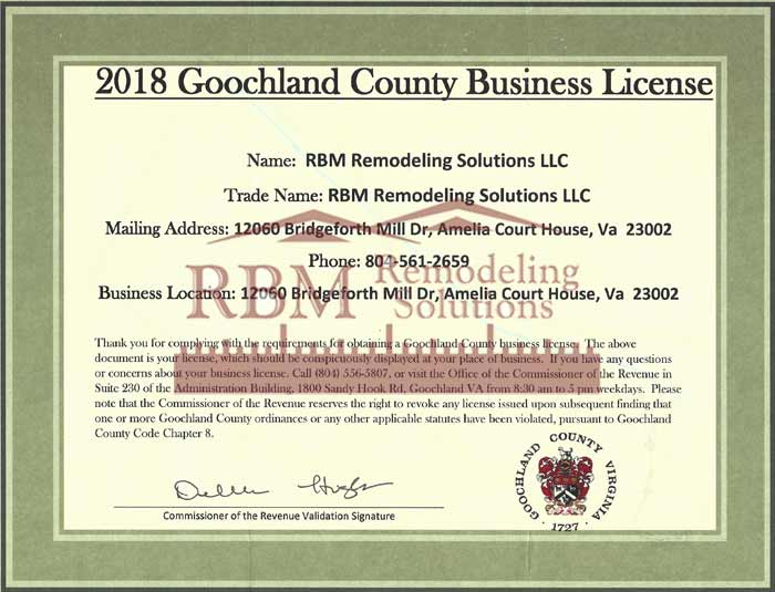 Goochland County Business LICENSE for 2018 is up to date for RBM Remodeling Solutions