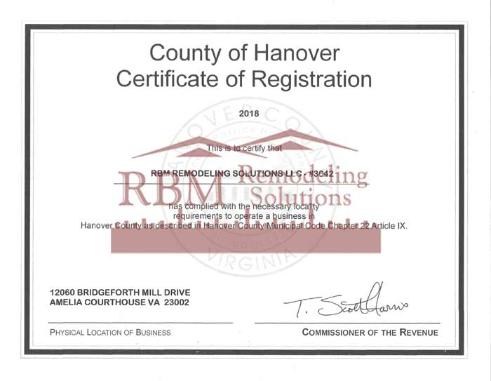 Hanover County Business LICENSE for 2018 is up to date for RBM Remodeling Solutions