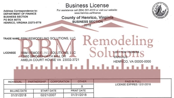 Henrico County VA Business LICENSE for 2018 is up to date for RBM Remodeling Solutions, LLC – Richmond, VA